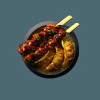 Brochettes poulet yakitori et gyozas