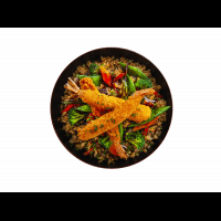 Riz sauté aux crevettes tempura